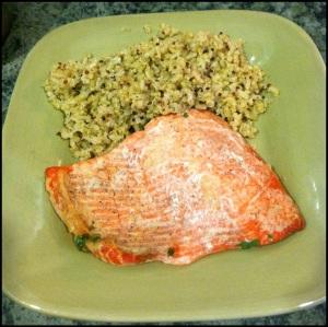 Finished baked salmon