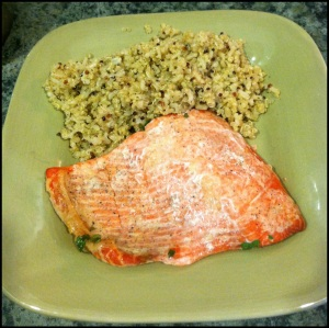 Finished baked salmon